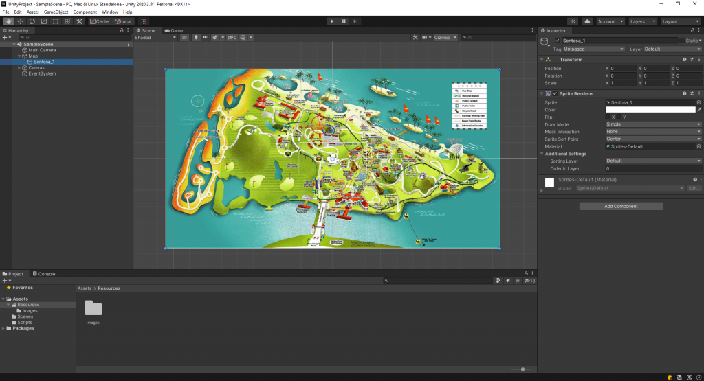 The picture shows the Sentosa map
