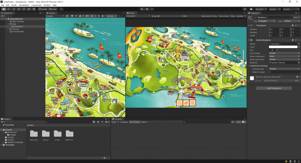 The above picture shows the starter scene for our demo that comes with a 2d camera manipulator to pan and zoom.