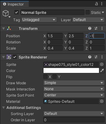 The transform properties in the Inspector for Normal Sprite