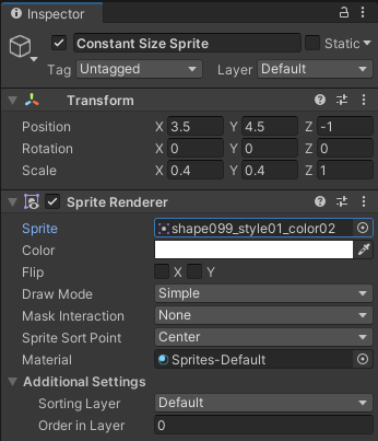 The transform properties in the Inspector for Constant Size Sprite.